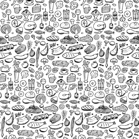 illustration of doodle food and drink elements for backgrounds, textile prints, covers, posters, menu