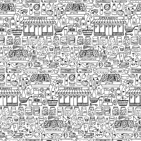illustration of seamless pattern wiht doodle  supermarket elements