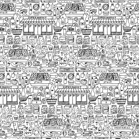 Ilustración de patrón transparente wiht los elementos del Doodle de supermercados Foto de archivo - 54243109