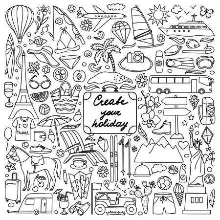 points of interest: Vector illustration with hand drawn doodle summer and travel elements