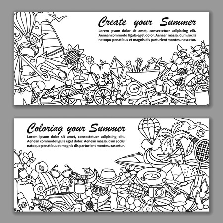 sports shell: Vector illustration of fliers with hand drawn doodle summer elements Illustration