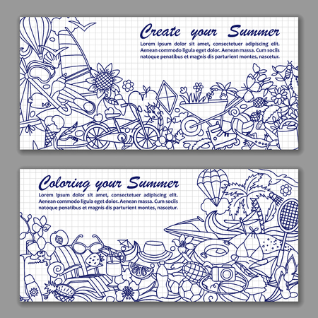 tropical fruit: Vector illustration of fliers with hand drawn doodle summer elements in squared paper Illustration