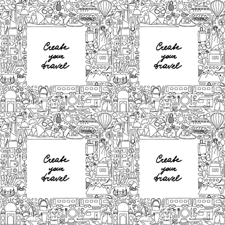 white party: Seamless pattern of frame with hand drawn doodle travel elements