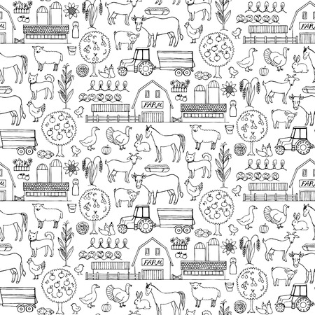hand drawn: Seamless pattern with hand drawn farm elements Illustration