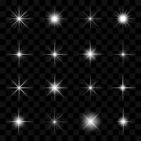 Vector illustration of stars and sparkles elements on transparent background