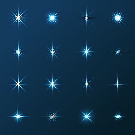 Vector illustration of transparent stars and sparkles elements on blue background
