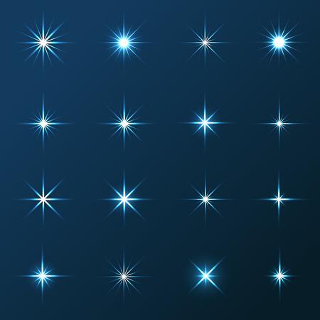 Vector illustratie van transparante sterren en schittert elementen op blauwe achtergrond