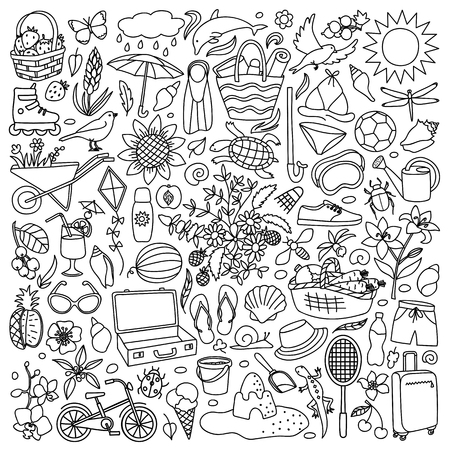 Vector illustration with hand drawn doodle summer elements Stock Illustratie