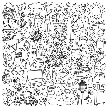 Vector illustration with hand drawn doodle summer elements Illustration