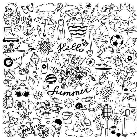 Vector illustration with hand drawn doodle summer elements Ilustração