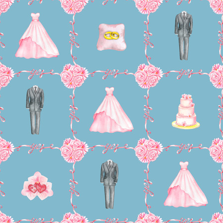 marriageable: Seamless hand drawn pattern with watercolor Wedding elements isolated on blue background