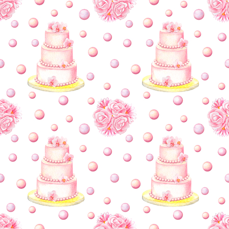 herbera: Hand drawn watercolor seamless pattern with cakes, bunches and pearls isolated on white background Stock Photo