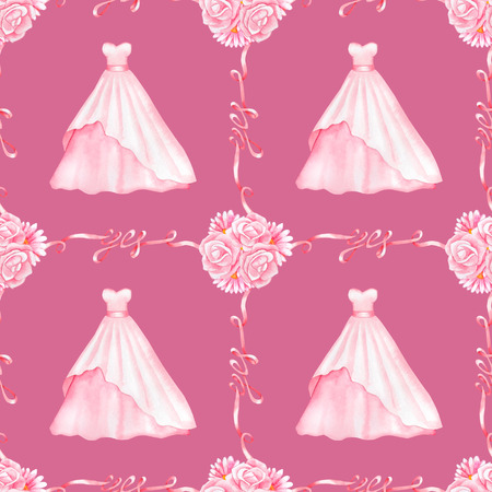 marriageable: Seamless pattern with watercolor Wedding Dresses and Yes Ribbons isolated on pink background