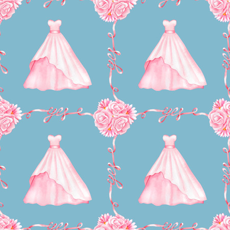 marriageable: Seamless pattern with watercolor Wedding Dresses and Yes Ribbons isolated on blue background