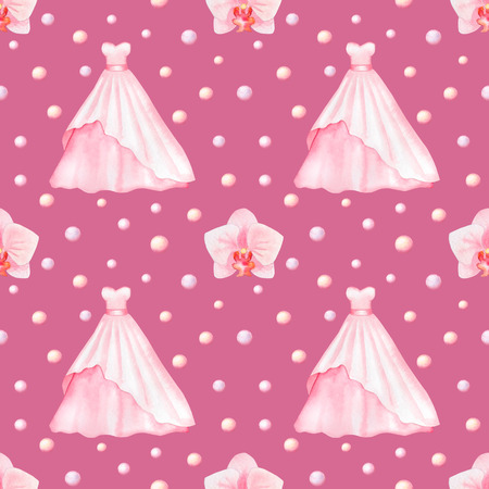 marriageable: Seamless pattern with watercolor Wedding Dresses and Orchids isolated on pink background
