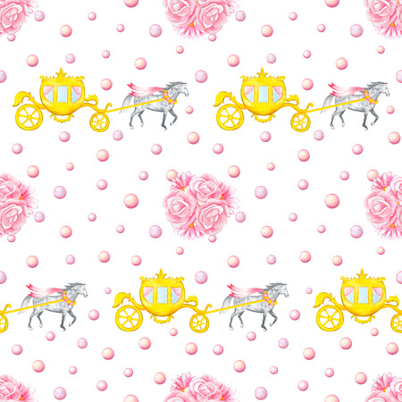 bunches: Seamless pattern with watercolor hand drawn horses, carriages and bunches isolated on white background