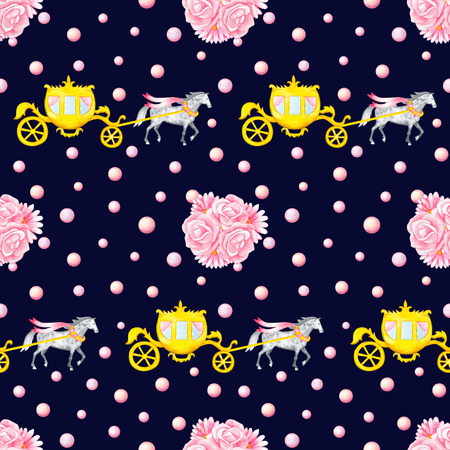 bunches: Seamless pattern with watercolor hand drawn horses, carriages and bunches isolated on dark blue background