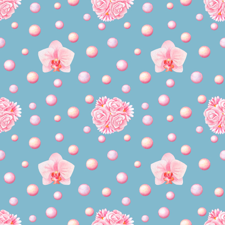 herbera: Hand drawn watercolor seamless pattern with orchids, bunches and pearls isolated on blue background
