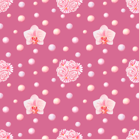 herbera: Hand drawn watercolor seamless pattern with orchids, bunches and pearls isolated on pink background Stock Photo