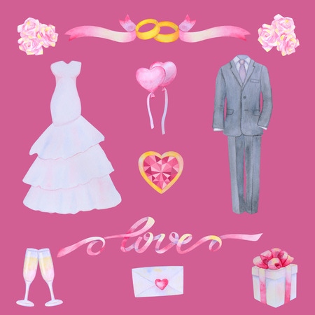 wedding bride: Illustration with watercolor Wedding elements isolated on pink background Stock Photo