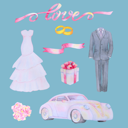 marriageable: Illustration with watercolor Wedding elements isolated on blue background