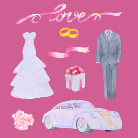 marriageable: Illustration with watercolor Wedding elements isolated on pink background Stock Photo