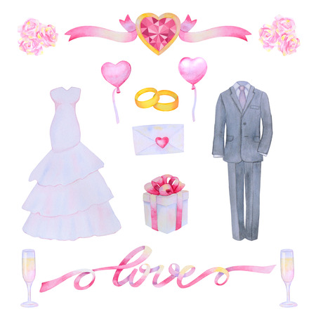 marriageable: Illustration with watercolor Wedding elements isolated on white background. Wedding set.