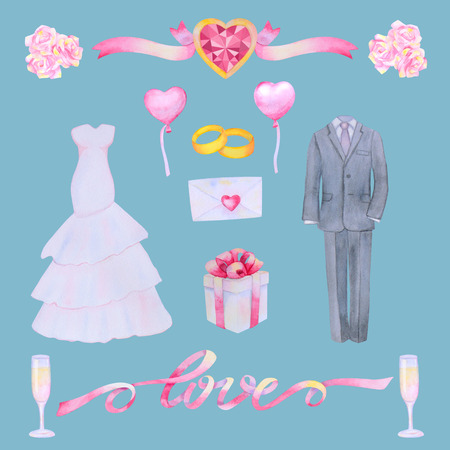 marriageable: Illustration with watercolor Wedding elements isolated on blue background. Wedding set.