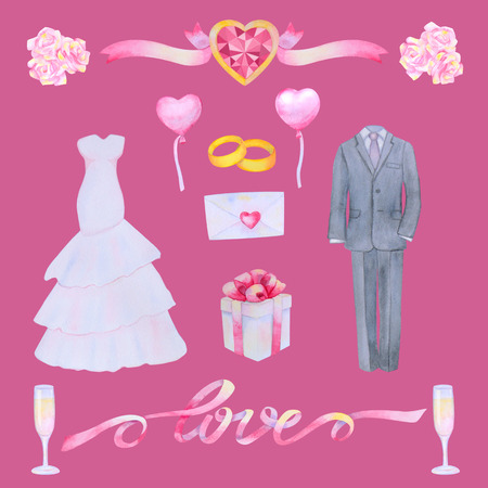 marriageable: Illustration with watercolor Wedding elements isolated on pink background. Wedding set. Stock Photo