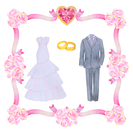 marriageable: Illustration with watercolor Wedding elements isolated on white background.  Flower frame. Wedding set.