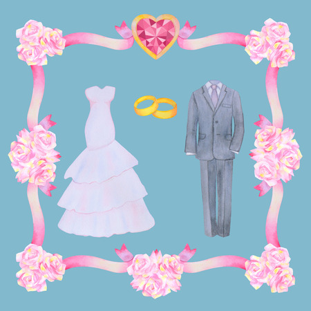 marriageable: Illustration with watercolor Wedding elements isolated on blue background.  Flower frame. Wedding set. Stock Photo
