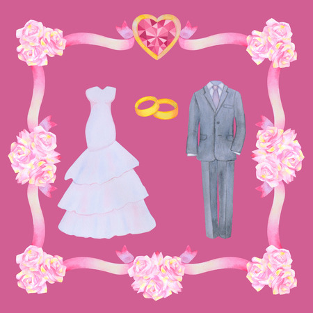 marriageable: Illustration with watercolor Wedding elements isolated on pink background.  Flower frame. Wedding set. Stock Photo