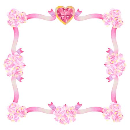 fiancee: Hand drawn watercolor frame isolated on white background. Love frame. Wedding frame. Valentines Frame. Decorative frame. Flower frame.