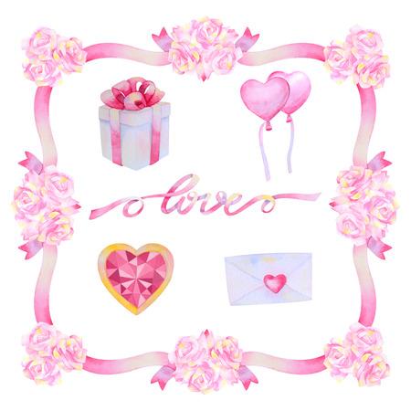 aquarel: Hand drawn watercolor frame with love elements isolated on white background. Love frame. Wedding frame. Valentines Frame. Decorative frame. Flower frame.