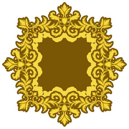 baroque picture frame: Decorative Gold Frame isolated on white background. Part of seamless pattern. Decorative element. Ornamental Frame. Baroque Frame. Tile element Illustration