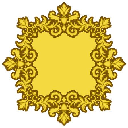 bordering: Decorative Gold Frame isolated on white background. Part of seamless pattern. Decorative element. Ornamental Frame. Baroque Frame. Tile element Illustration