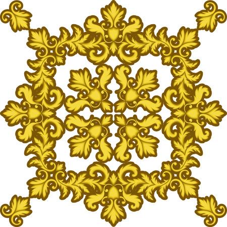 Decorative Gold Frame isolated on white background. Part of seamless pattern. Decorative element. Ornamental Frame. Baroque Frame. Tile element Illustration