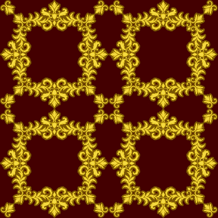 baroque wallpaper: Decorative Gold seamless pattern isolated on red background. Part of seamless pattern. Decorative element. Baroque Wallpaper. Tile element
