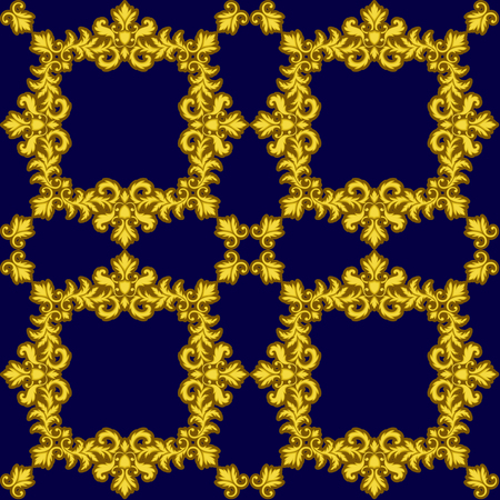 baroque wallpaper: Decorative Gold seamless pattern isolated on blue background. Part of seamless pattern. Decorative element. Baroque Wallpaper. Tile element Stock Photo