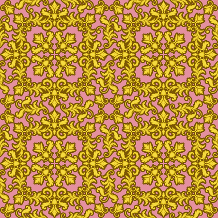 baroque wallpaper: Decorative Gold seamless pattern isolated on pink background. Part of seamless pattern. Decorative element. Baroque Wallpaper. Tile element