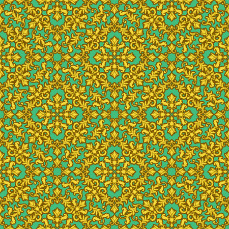 baroque wallpaper: Decorative Gold seamless pattern on green background. Part of seamless pattern. Decorative element. Baroque Wallpaper. Tile element Stock Photo