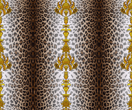gepard: Vector illustration of seamless pattern with leopard skin and baroque elements. Leopard background. Panther seamless pattern. Animal seamless pattern. Fashion textile print. Animal wallpaper. Illustration