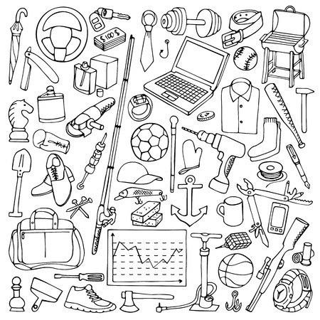 hand cartoon: Vector illustration of mans hobby, tools and objects
