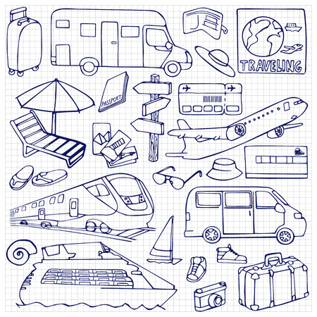 points of interest: Vector illustration with hand drawn doodle travel  and transports elements on squared paper