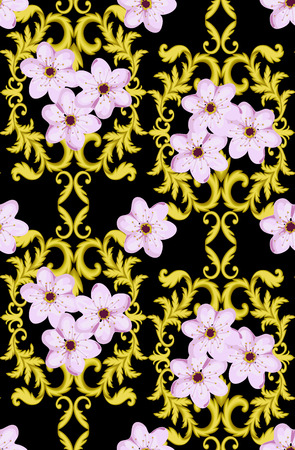 bordering: Decorative Gold seamless pattern isolated on black background with cherry blossom.  Decorative element. Baroque Wallpaper. Sakura seamless pattern