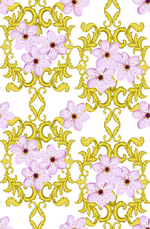 gilt: Decorative Gold seamless pattern isolated on white background with cherry blossom.  Decorative element. Baroque Wallpaper. Sakura seamless pattern