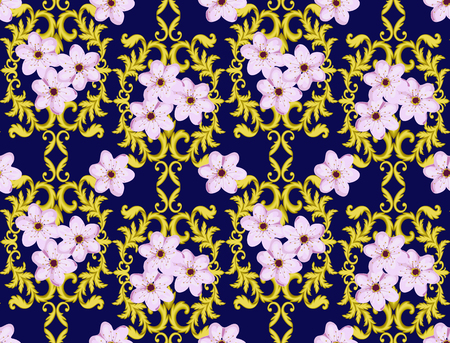 baroque wallpaper: Decorative Gold seamless pattern isolated on blue background with cherry blossom.  Decorative element. Baroque Wallpaper. Sakura seamless pattern Stock Photo