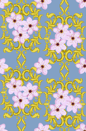 bordering: Decorative Gold seamless pattern isolated on blue background with cherry blossom.  Decorative element. Baroque Wallpaper. Sakura seamless pattern Illustration