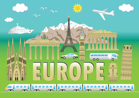 point of interest: European landmarks and transports. Vector illustration with travel elements. Landmarks of european countries  France, Germany, GB, Italy, Spain, Greece, Portugal