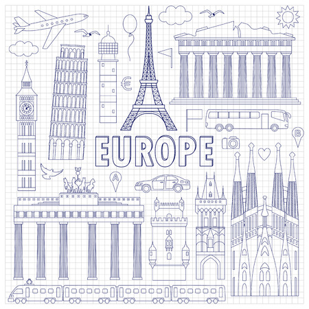 gb: European landmarks and transports on squared background. Vector illustration with travel elements. Landmarks of european countries  France, Germany, GB, Italy, Spain, Greece, Portugal,  Czech
